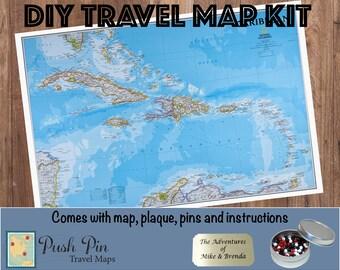 Caribbean map | Etsy