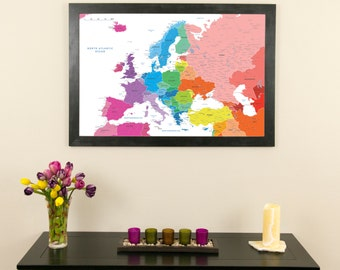 Personalized executive world travel map with pins and frame etsy colorful europe push pin travel map with pins and frame 24 x 36 push pin travel map gumiabroncs Image collections
