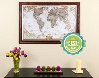 Framed world map | Etsy