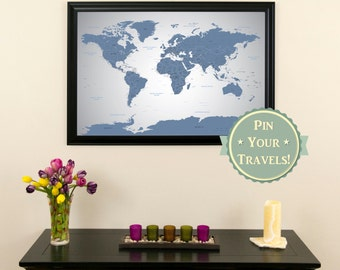 Blue Oceans World Push Pin Travel Map with Frame Push Pin | Etsy