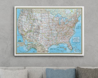 gallery wrapped personalized canvas pin map teal dream usa etsy