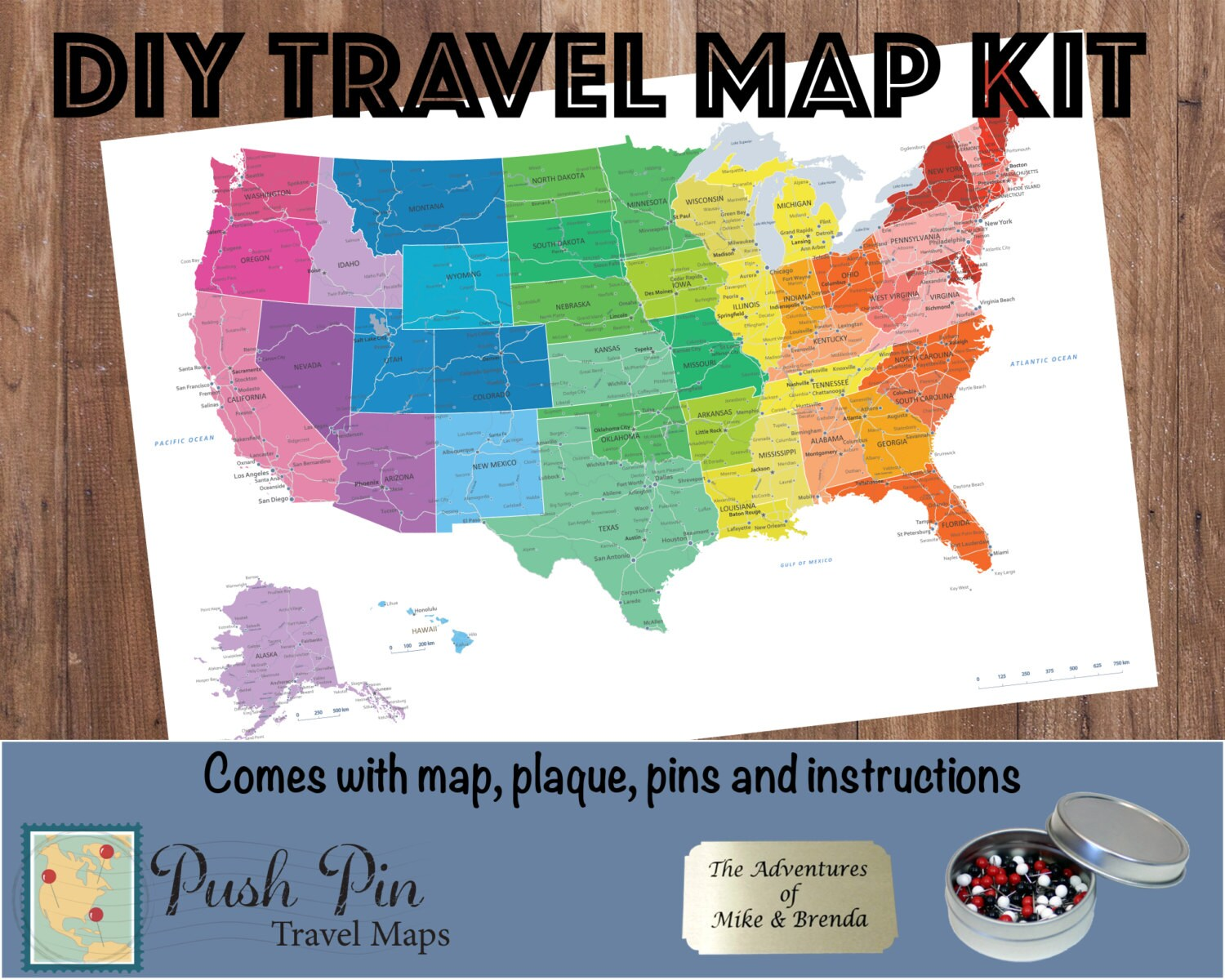 Diy Colorful Us Push Pin Travel Map Kit With 100 Pins Etsy - Us-pin-map