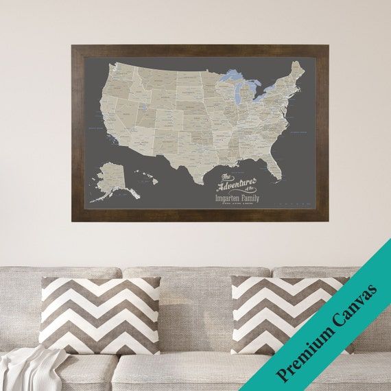 Personalized Us Map.Canvas Personalized Earth Toned Usa Travel Map Push Pin Etsy
