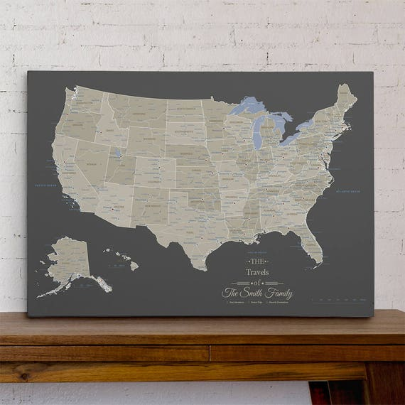 Personalized Usa Map.Gallery Wrapped Personalized Canvas Pin Map Earth Toned Usa Etsy