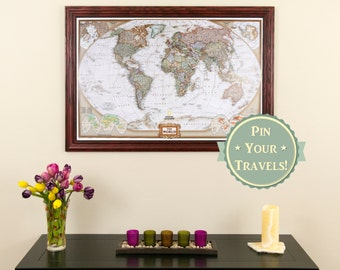 Executive World Travel Map with Pins and Frame - Push Pin Travel Map - Wall Décor - Framed Map of the World - Gifts for Him - Gifts for Her