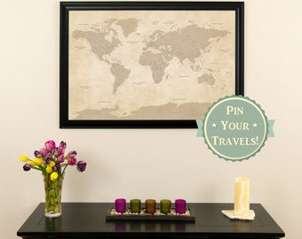 Vintage World Push Pin Travel Map with Pins and  Frame  - Push Pin Travel Map - Old World Styled Map - Antique Map - Vintage Pin Map