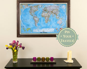 Classic World Travel Map with Pins and Frame - Push Pin Travel Map - Travel Map to Track Your Travels - Retirement Gift Idea - World Pin Map