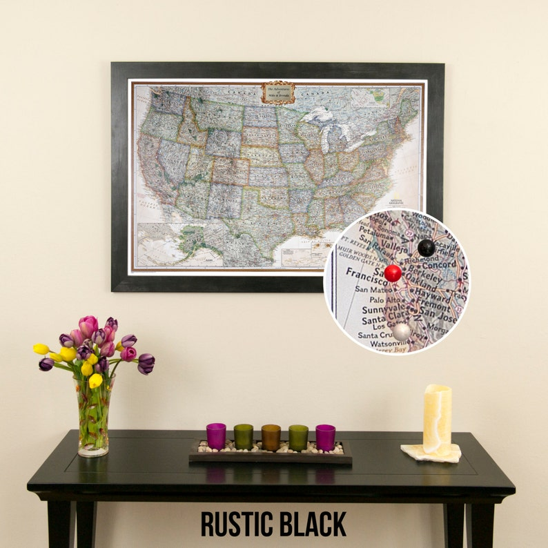 Personalized Executive US Travel Map with Pins and Frame -Push Pin Travel  Map - Detailed US Map - Large Framed Map - USA Bucket List Travels