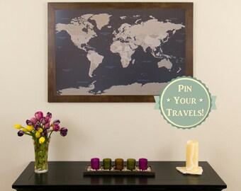 "Earth Toned World Push Pin Travel Map with Pins - 24""x36"" - Push Pin Travel Map - Pin Your Travels - Great Gift Idea - Anniversary Gift Idea"