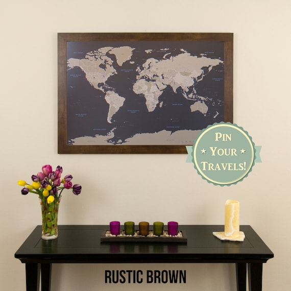 Earth toned world push pin travel map with pins gumiabroncs Gallery