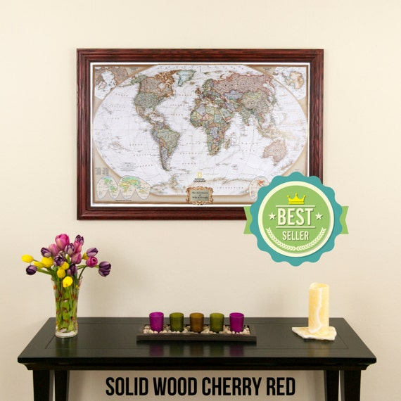 Personalized Executive World Travel Map With Pins And Frame Etsy - Personalized world map with pins