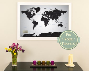 """Personalized Black Ice World Push Pin Travel Map with Pins and Frame 24"""" x 36""""  - Push Pin Travel Map"""