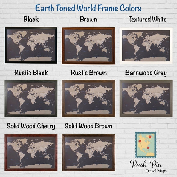 Earth toned world push pin travel map with pins 50 gumiabroncs Gallery