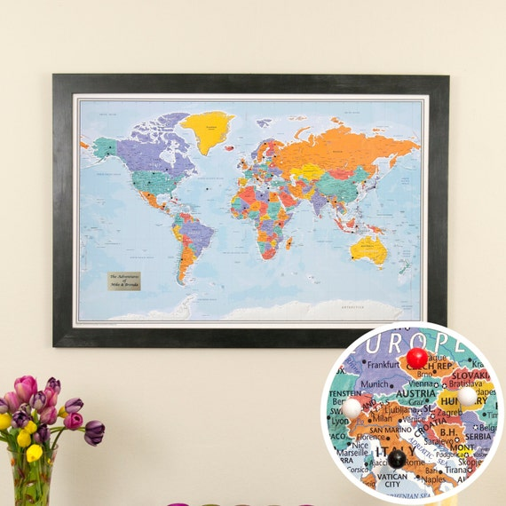Personalized Blue Oceans World Travel Map With Pins And Frame Etsy - World travel map with pins and frame