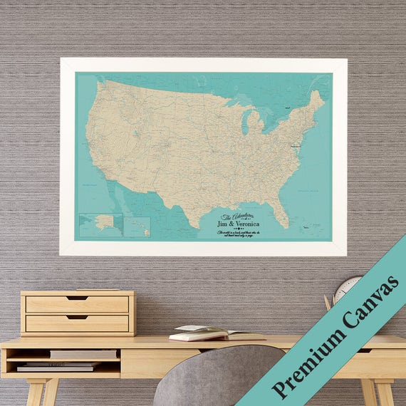Personalized Us Map.Canvas Personalized Teal Dream Usa Travel Map Push Pin Etsy