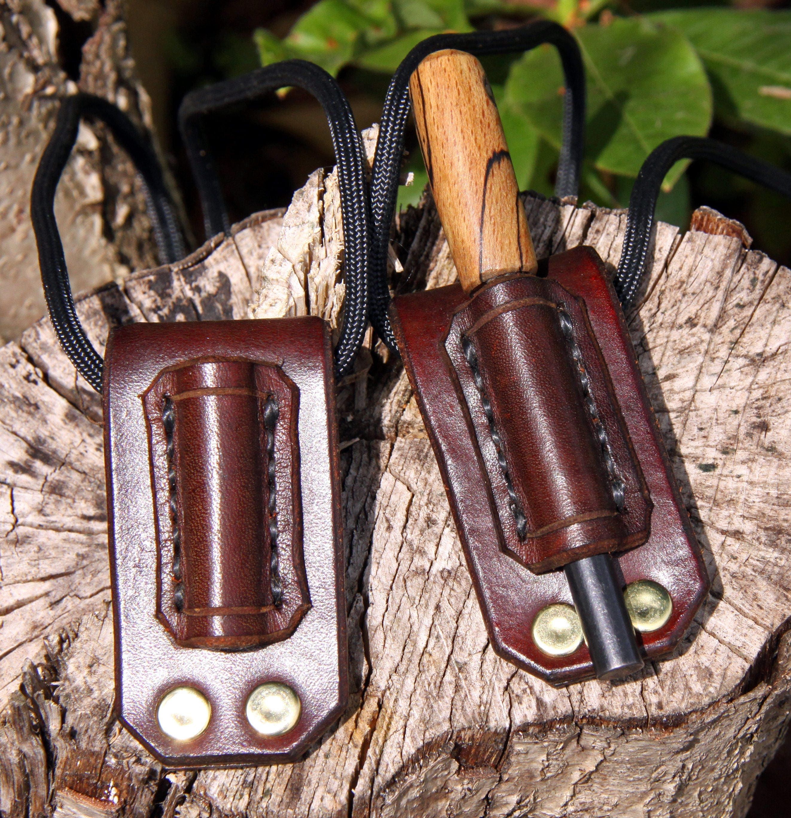 Details about  /HAND-MADE HAND-STITCHED LEATHER FIRESTEEL NECK /& BELT CARRY FERRO ROD HOLDER