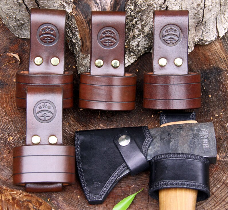 larger size Hand-made brown leather embossed axe-holder  belt-loop