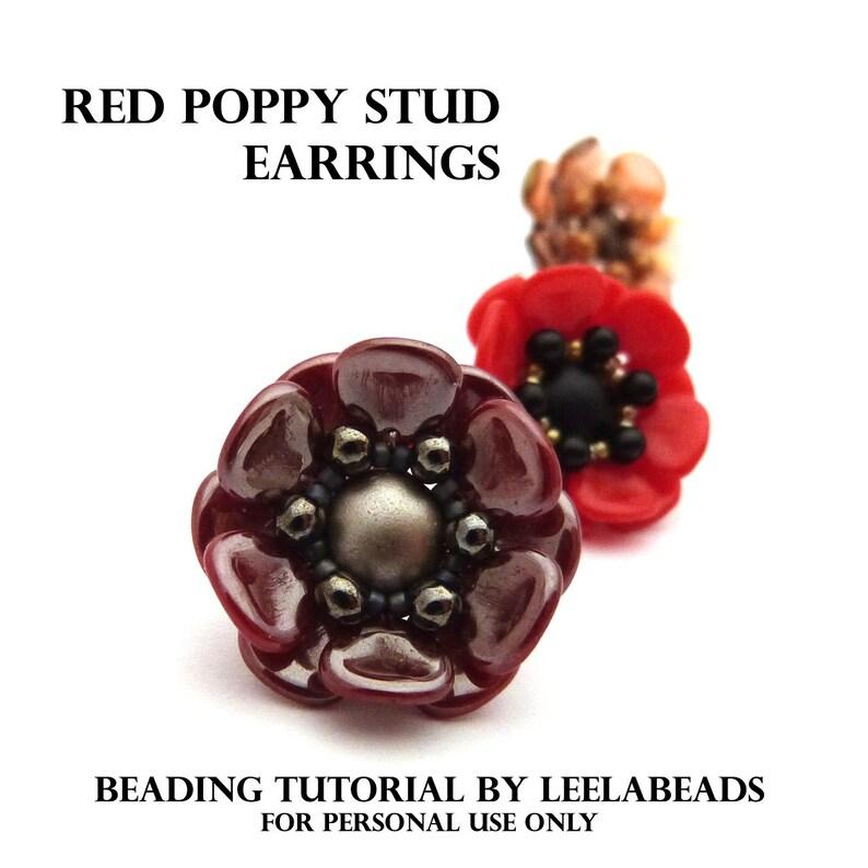 Red Poppy Stud Earrings  PDF beading pattern  Instant image 0