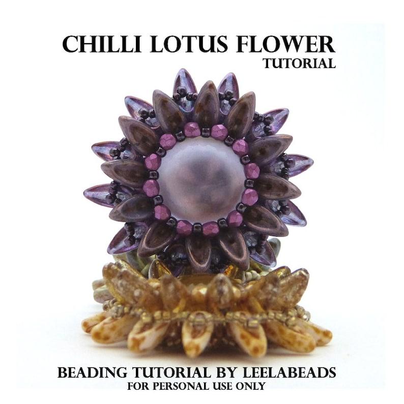 Chilli Lotus Flower  PDF beading pattern  Instant Download image 0