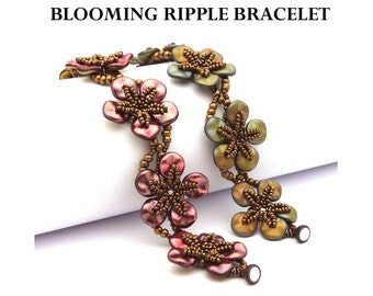 Blooming Ripple Bracelet - PDF beading pattern - Instant Download