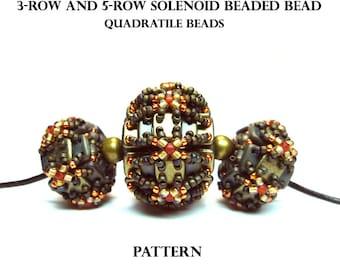 Solenoid beaded bead - QuadraTile beads - PDF beading pattern - Instant Download