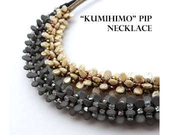 Beadwoven Kumihimo Pip ketting - PDF beading patroon - Instant Download