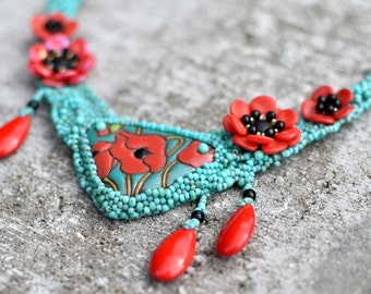Red Poppy Field - OOAK freeform beaded set of jewelry