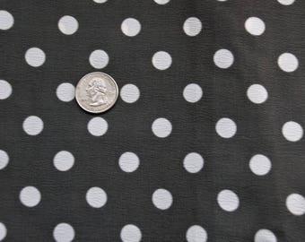 Gray with white polka dot fabric