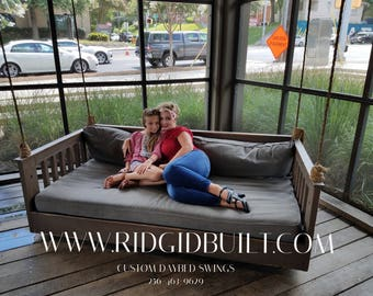 Ridgidbuilt Mission Custom Bed Swing, Daybed Swing ,Pin my store to Pinetrest for 10% off .  Questions ? Text or call 256-463-9629