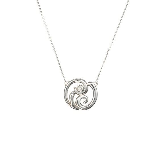 Small simple diamond necklace real diamond pendant white etsy image 0 aloadofball Images