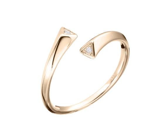 14k yellow gold ring Black diamond ring Minimalist engagement ring Bypass ring for women. Diamond wedding ring band Simple open ring