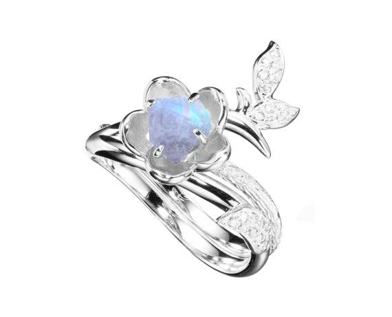 Unique wedding ring Alternative solitaire ring Rainbow moonstone engagement ring 14k white gold ring Minimalist white stone band women.