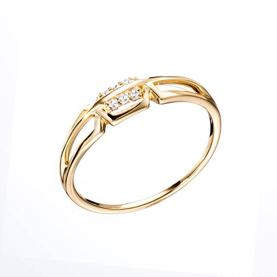 Diamond Gold Ring 14k Yellow Gold Engagement Ring Modern Etsy