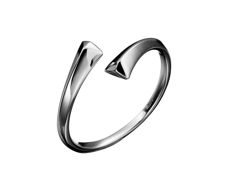 51390f4dc Minimalist black ring for her 14k gold womens black wedding | Etsy