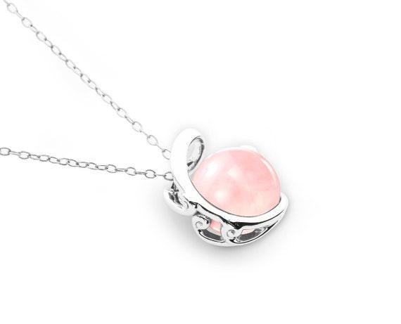 rose quartz necklace rose quartz jewelry pink quartz 925 sterling silver pink gemstone october birthstone beach wedding bridesmaids gifts