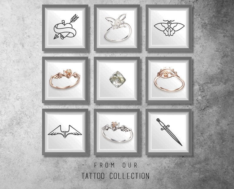 Rose gold butterfly ring raw diamond ring rough uncut diamond ring Filigree butterfly Tattoo engagement jewelry wedding diamond Promise gold
