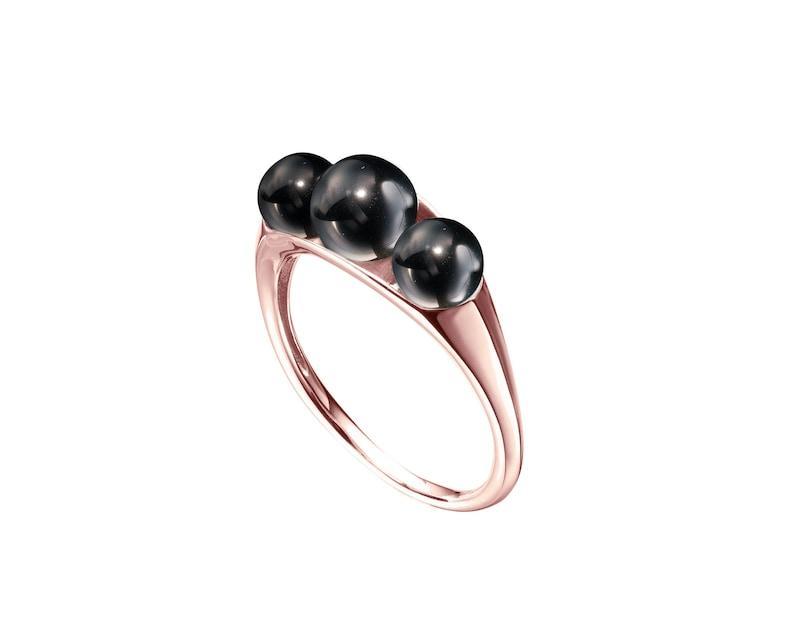ee175ed30 Black engagement ring for women in 14k rose gold Black | Etsy