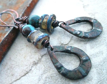 TUSAYAN UNEARTHED Primitive Rustic Dangle earrings / Boho / Earthy / Tribal / Organic