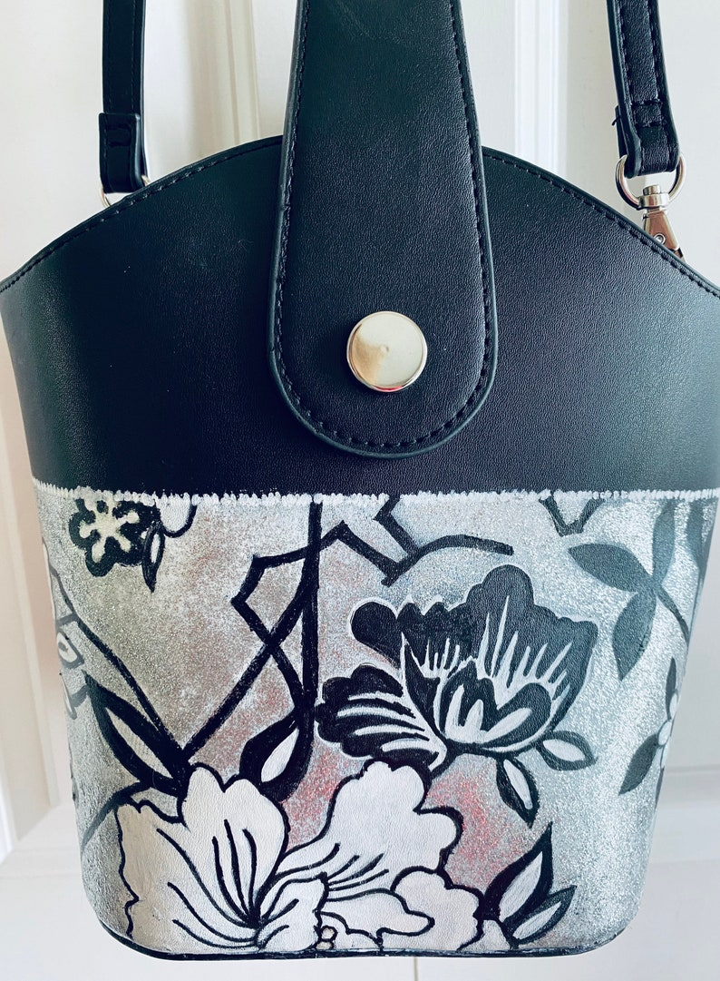 Silver Bucket Hand Painted Purse