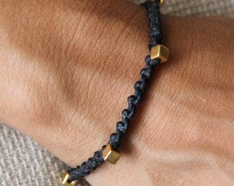 Bracelet Colo 05 Gold Cotton Handmade - Black (B105GD-CBK)
