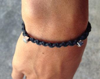 Bracelet Colo 05 Sterling Silver .925 Cotton Cord Handmade - Black (B105SS-CBK)