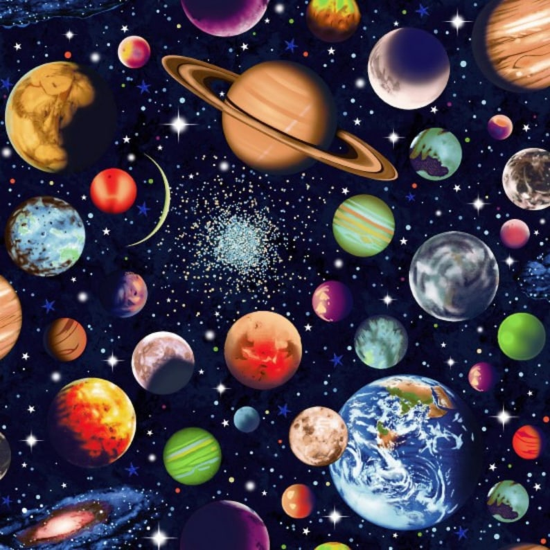 89690-103 Solar System Scattered 100/% cotton print fabric