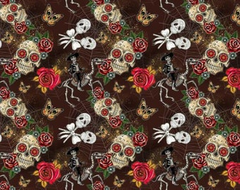 Day Of The Dead (02) - Brown - 100% cotton print fabric - CC165
