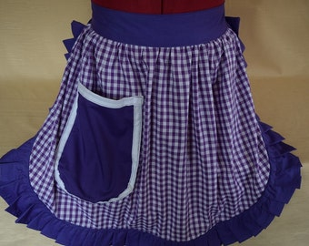 Retro Vintage 50s Style Half Apron / Pinny - Purple & White