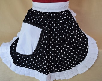 Retro Vintage 50s Style Half Apron / Pinny - Black & White Polka Dot with White Trim