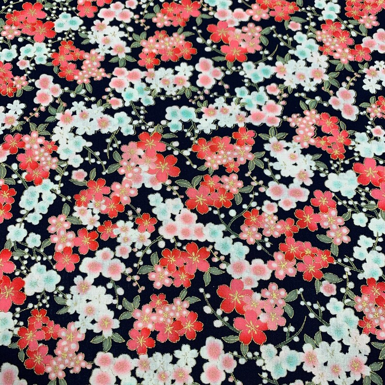 100/% cotton Navy 2293-02 Small Floral The Craft Cotton Co Metallic fabric