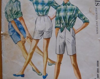 Vintage Sewing Pattern 1958 McCall's Bermuda Shorts and Shirt women's size 16