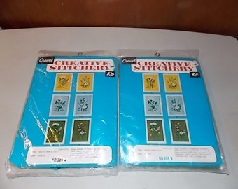 Vintage Crewel Stitchery Kit Set Queen Anns Lace and Daisies Wildflowers Flowers Floral Dark Green Cloth