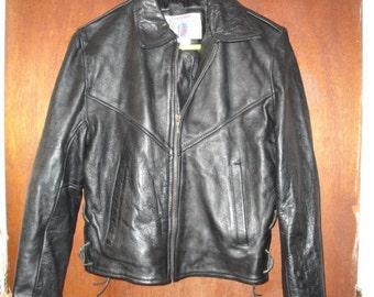 Womens Vintage Vanguard Heavy Leather Black Biker Motorcycle Jacket M Medium Made in USA