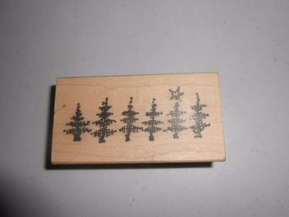 Imaginations Rubber Stamp Abstract Line of Christmas Trees One With Star Top